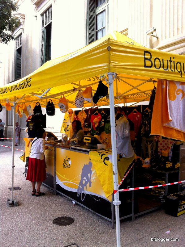 Boutique with Tour de France branded merchandise