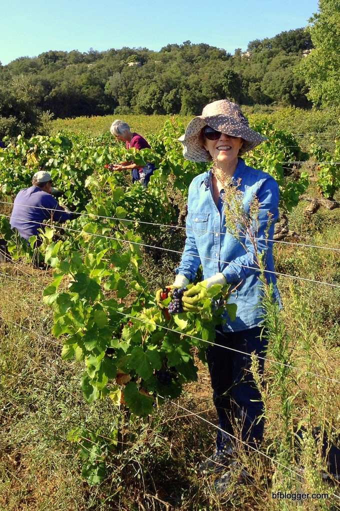 "Pat dressed in her ""grape-picking in France"" outfit."