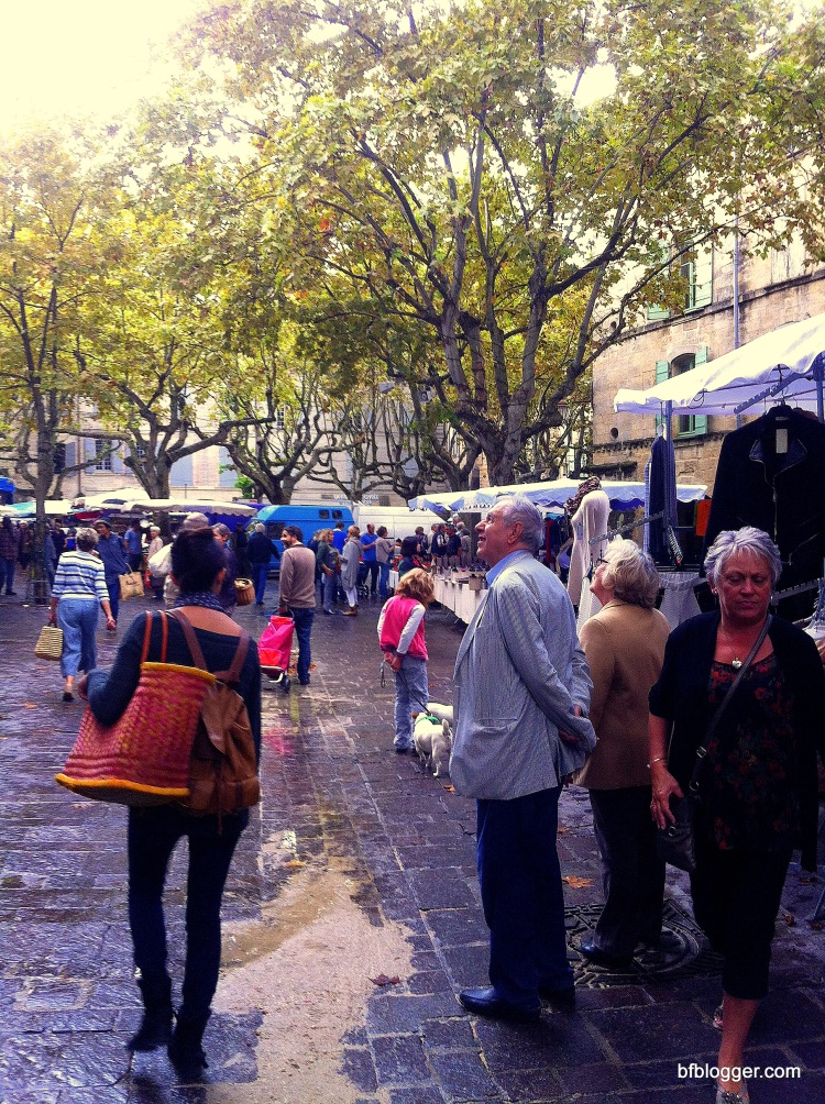 A few shoppers wandered around the usually busy Saturday Market in Uzes