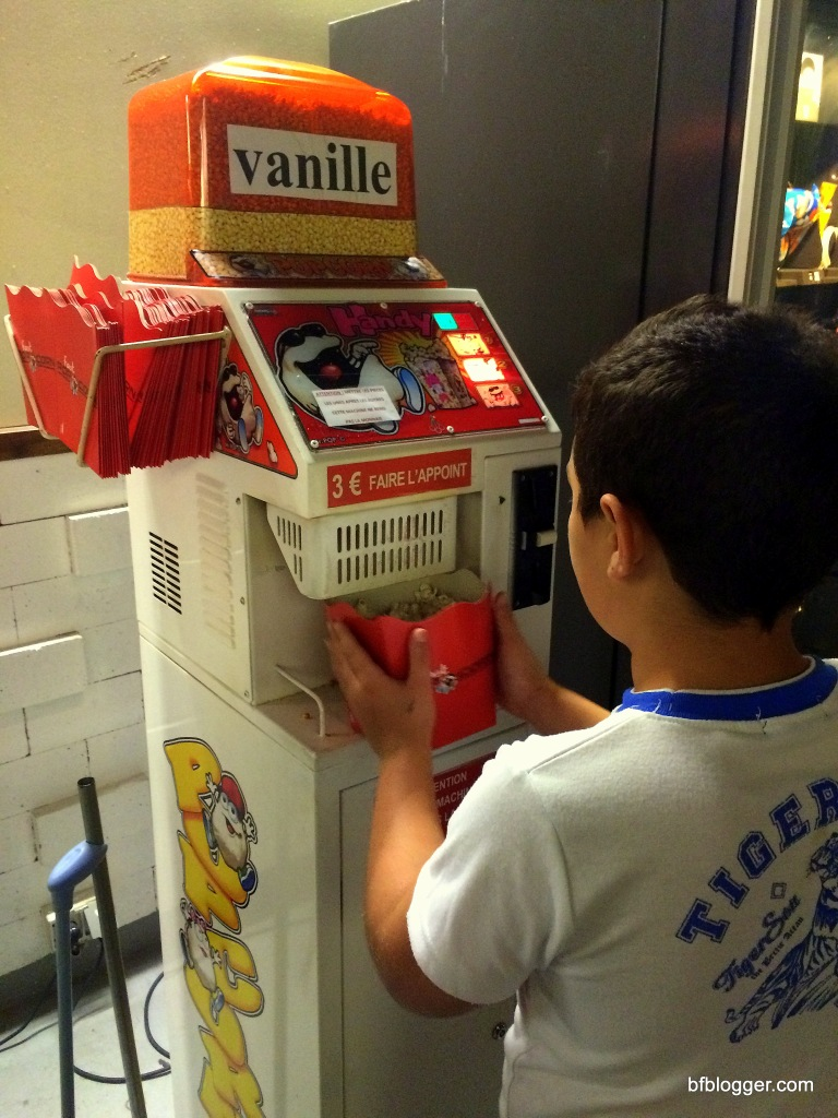"""Popcorn maker for """"vanilla"""" flavored popcorn, as well as another machine for """"salted"""" popcorn."""
