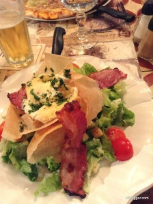 Fresh Greens with Lardon and Goat Cheese in Uzes, France