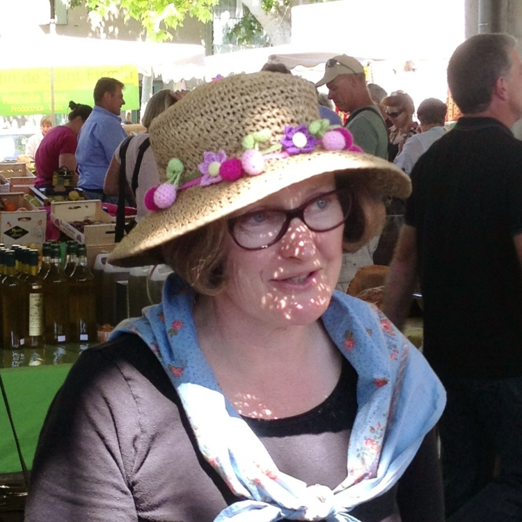"Market Lady with ""real"" flower hat"