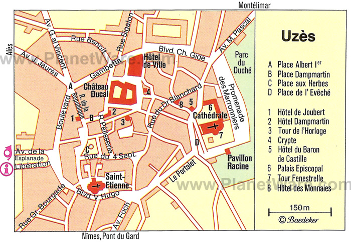 Map of Uzes historic area