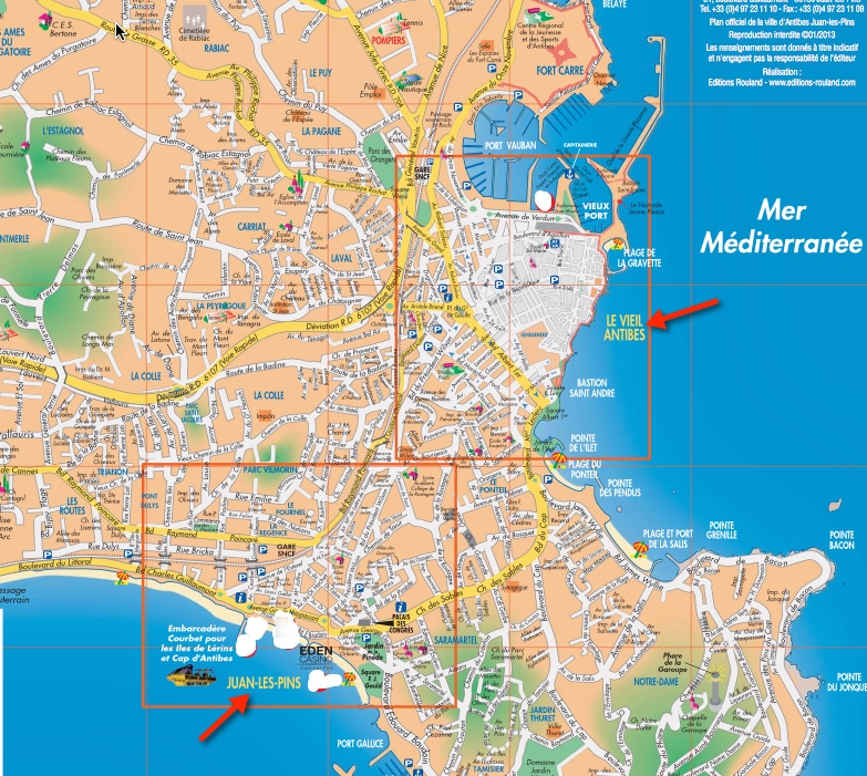 Map of Old Town Antibes and Juan Les Pins