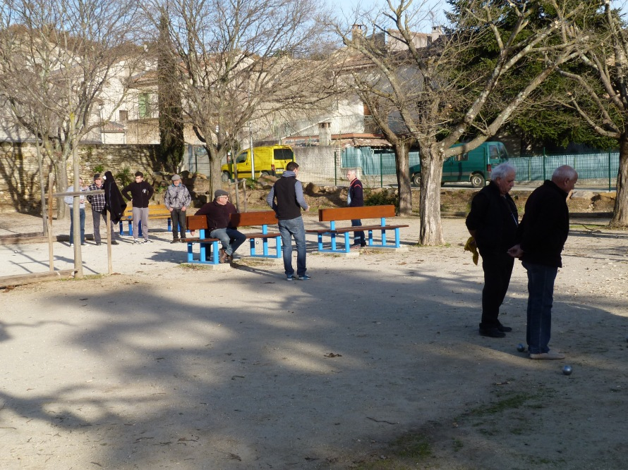 Playing Petanque in San Quentin la Poterie